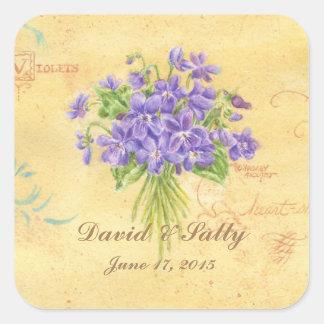 Wedding Stickers Custom Violets Bouquet
