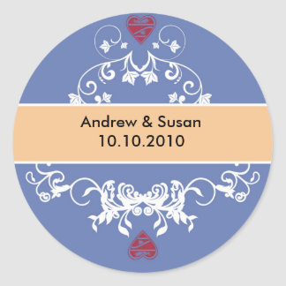 Wedding Stickers - red heart bicolor