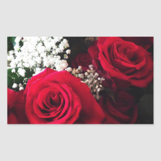 Wedding Stickers Red Roses Baby s Breath Bouquet