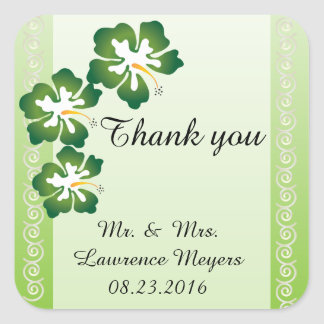 Wedding Stickers-Tropical Green Theme Square Sticker