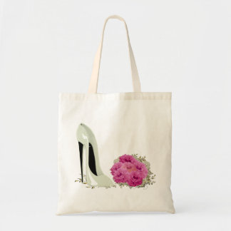 Wedding Stiletto Shoe and Bouquet of Roses Tote Bag