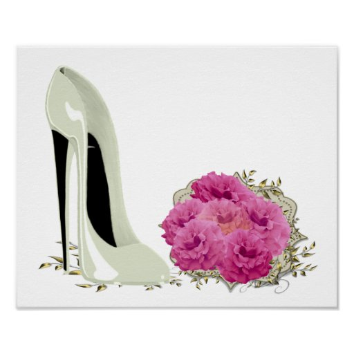 Wedding Stiletto Shoe and Roses Bouquet Poster