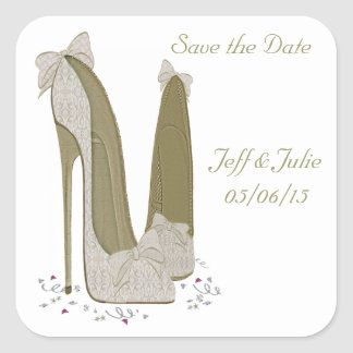 Wedding Stiletto Shoes Art Gifts Square Sticker