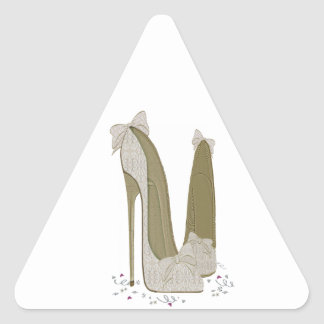 Wedding Stiletto Shoes Art Triangle Sticker