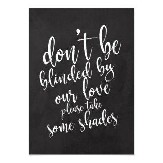 Wedding sunglasses favors cheap chalkboard sign card