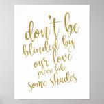 Wedding sunglasses favours Gold 8x10 Wedding Sign