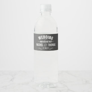 Wedding Survival Kit Water Bottle Label