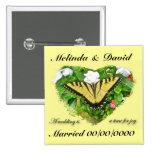 Wedding Swallowtail Butterfly Items Pinback Buttons