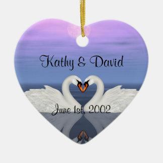 Wedding Swans Ceramic Heart Decoration