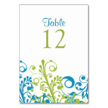 Wedding Table Card Abstract Floral Blue Green