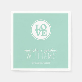 WEDDING TABLE DECOR love spot typography cool mint Disposable Serviette