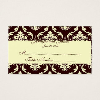 Wedding Table Escort Cards Brown Ivory Damask