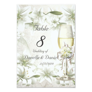 Wedding Table Number Beige Green Floral White 9 Cm X 13 Cm Invitation Card