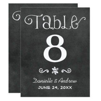 Wedding Table Number | Black Chalkboard Charm Card