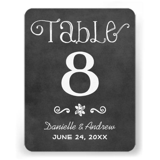 Wedding Table Number | Black Chalkboard Charm Custom Invites