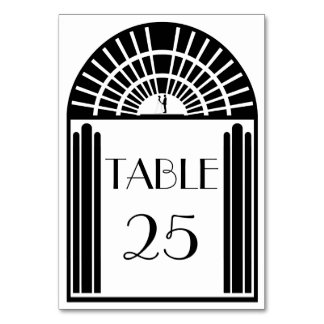 Wedding Table Number Black & White Art Deco Style