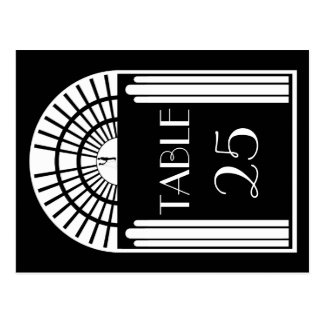 Wedding Table Number Black & White Art Deco Style Postcard