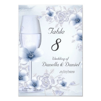 Wedding Table Number Blossoms Blue Silver Roses 9 Cm X 13 Cm Invitation Card
