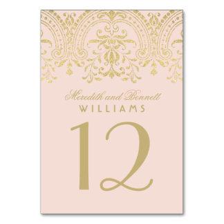 Wedding Table Number | Blush Gold Vintage Glamour