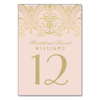 Wedding Table Number   Blush Gold Vintage Glamour Card