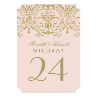 Wedding Table Number | Blush Gold Vintage Glamour 13 Cm X 18 Cm Invitation Card