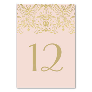 Wedding Table Number | Blush Gold Vintage Glamour Table Cards