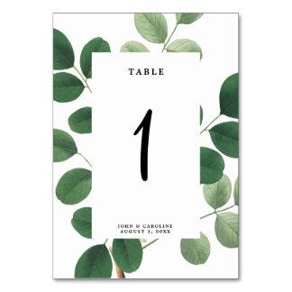 Wedding table number card botanical