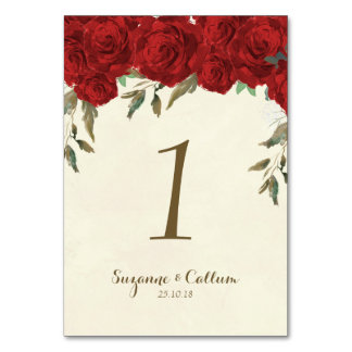 Wedding table number card ivory floral