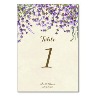 wedding table number card lavender flowers