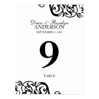 Wedding table number card party reception B&W