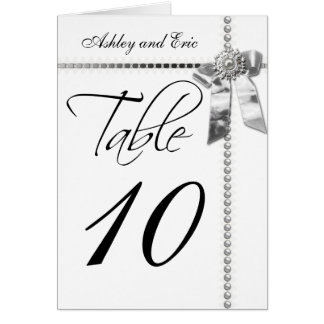 Wedding Table Number Card Silver Bow Ribbon Print