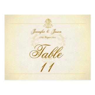 Wedding Table Number Card Vintage Parchment Paper Postcard