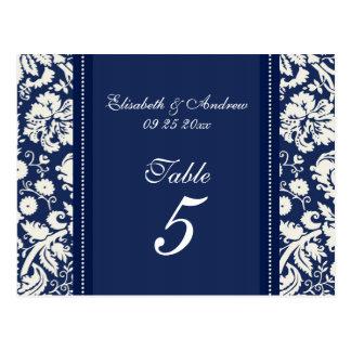 Wedding Table Number Cards Blue Damask Postcard