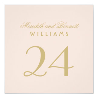 Wedding Table Number Cards | Blush and Gold 13 Cm X 13 Cm Square Invitation Card