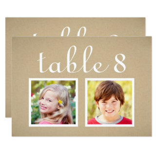 Wedding Table Number Cards | Bride + Groom Photos 13 Cm X 18 Cm Invitation Card