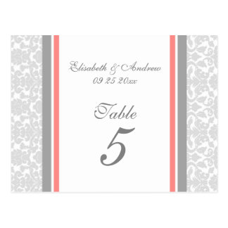 Wedding Table Number Cards Coral Gray Damask