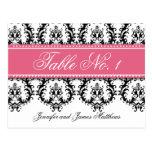 Wedding Table Number Cards Damask Names Pink