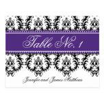 Wedding Table Number Cards Damask Names Purple