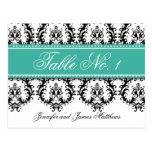 Wedding Table Number Cards Damask Names Turquoise