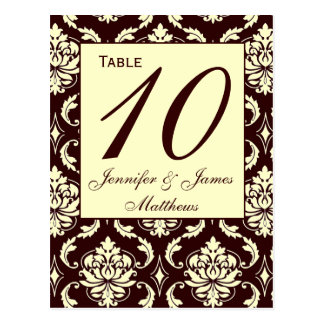Wedding Table Number Cards Ivory Brown Damask Postcard