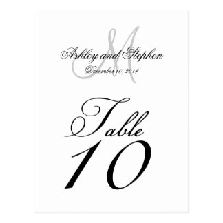 Wedding Table Number Cards Monogram Names Date