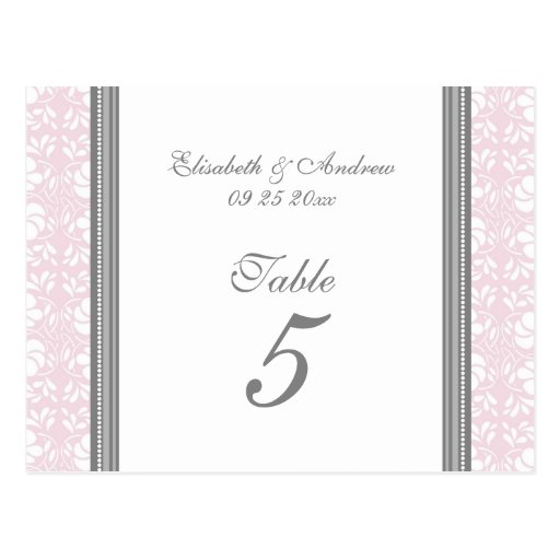 Wedding Table Number Cards Pink Gray Damask Post Cards