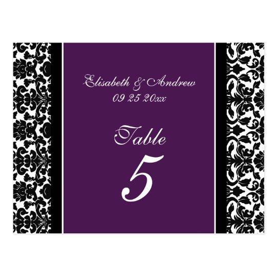 Wedding Table Number Cards Plum Damask