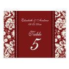 Wedding Table Number Cards Red Damask