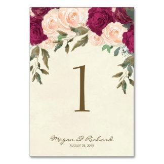 wedding table number chalkboard burgundy peach
