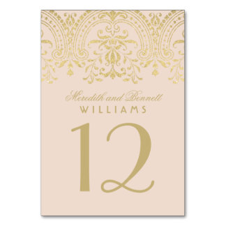 Wedding Table Number | Champagne Vintage Glamour Table Cards