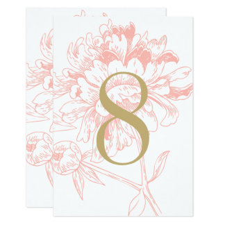 Wedding Table Number | Coral Floral Peony Design 9 Cm X 13 Cm Invitation Card