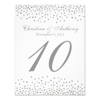 Wedding Table Number Elegant Silver Confetti Card