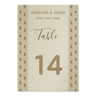 Wedding Table Number Floral Golden Vintage Elegant