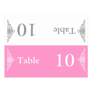 Wedding Table Number Folding Postcard Grey Pink